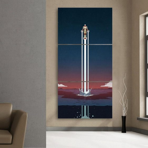 Iron Man Superhero Fly Over The Sea 3pcs Canvas Print