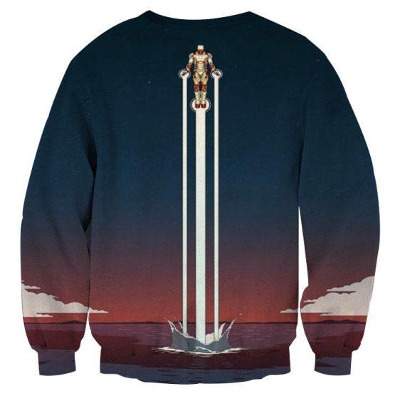 Iron Man Superhero Fly Over The Sea Design Sweatshirt