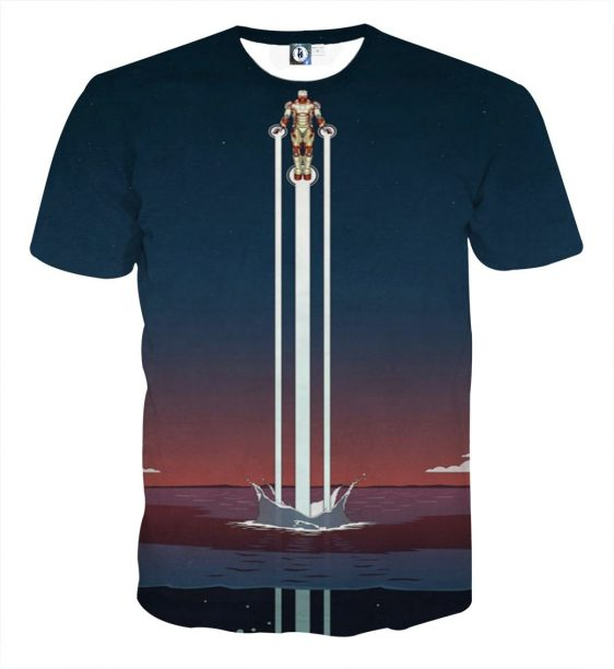 Iron Man Superhero Fly Over The Sea Full Print T-shirt