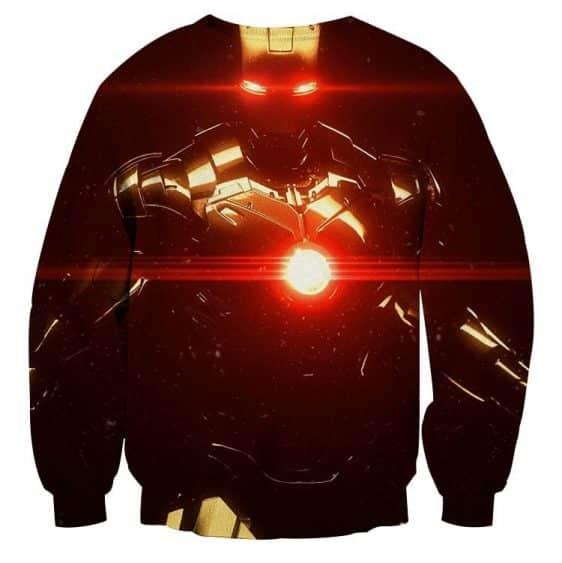 Iron Man's Power Laser Portrait Dark Design Sweatshirt