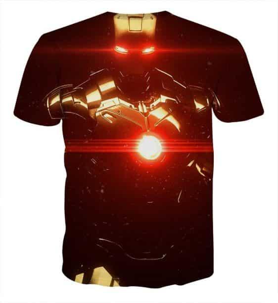 Iron Man's Power Portrait Dark Design Full Print T-shirt