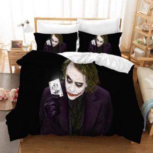 Joker Sinister Look Holding Joker Card Black Bedding Set
