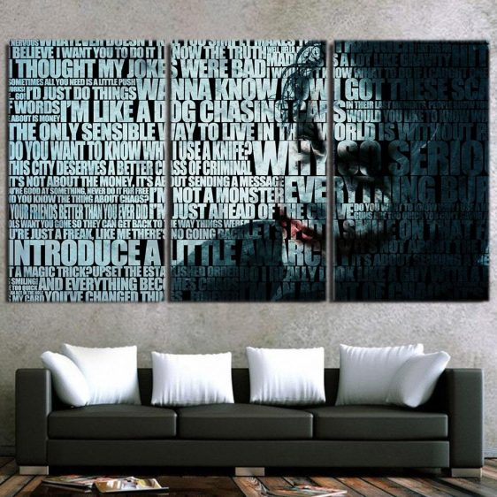 Joker The Curious Mischievous Clown 3pcs Wall Canvas Print