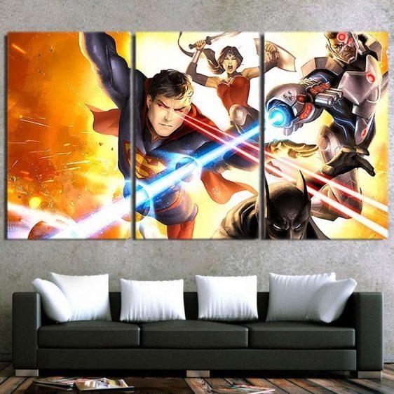 Justice League Battle Scene Dope Art 3pcs Canvas Print