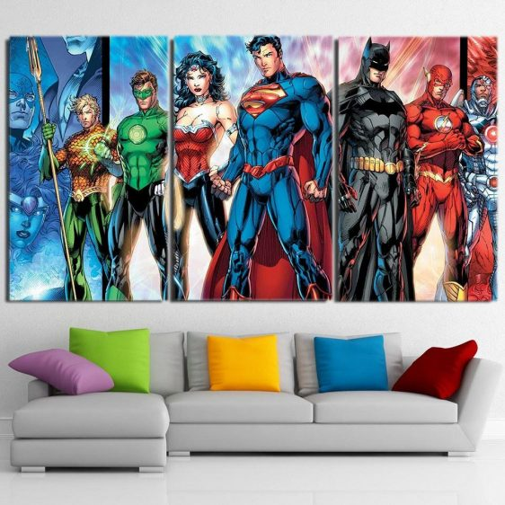 Justice League Incredible Art Design 3pcs Canvas Print