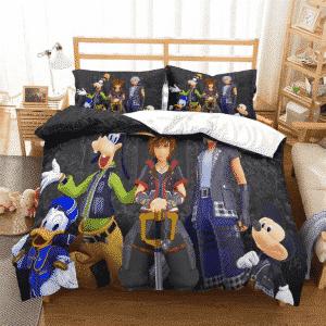 Kingdom Hearts III Sora Riku and Friends Black Bedding Set