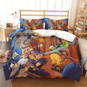 Kingdom Hearts Sora Goofy Donald Duck Fighting Bedding Set