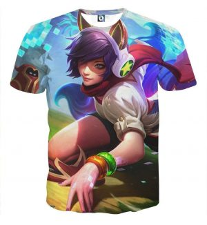 League of Legends Ahri Female Fighter Lively Color Art Style T-Shirt - Superheroes Gears
