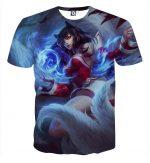 League of Legends Ahri Nine Tails Fox Female Champion 3D Print T-Shirt - Superheroes Gears