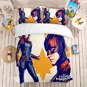 MCU Captain Marvel Vibrant Retro Style Bedding Set