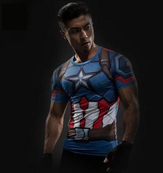 Captain America Civil War 3D Workout Compression Short Sleeves T-shirt - Superheroes Gears