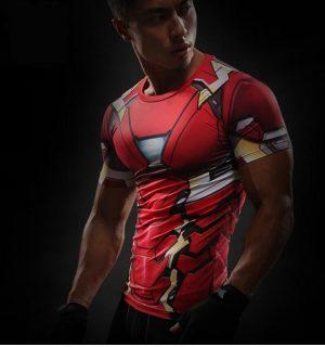 Iron Man Marvel Superheroes Costume 3D Compression Training T-shirt - Superheroes Gears