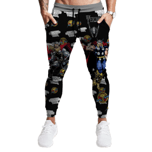 Marvel Mightiest Avenger Thor Awesome Black Jogger Pants