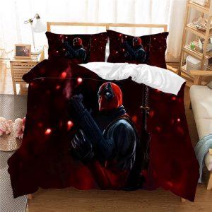 Marvel Serious Deadpool Blood Red Marvelous Bedding Set