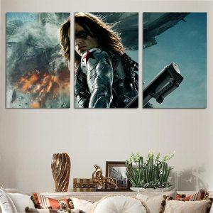 Marvel Badass Winter Soldier Bucky Barnes 3pcs Canvas Print