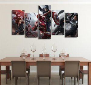 Marvel Captain America Civil War 5pcs Wall Art Canvas Print