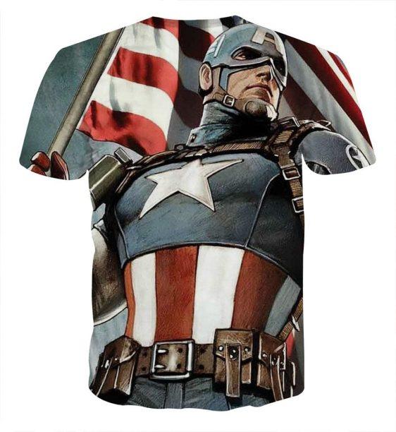 Marvel Captain America Holding the American Flag T-shirt
