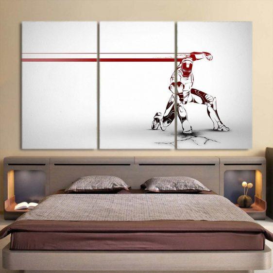 Marvel Comics Forceful Iron Man White 3pcs Canvas Print