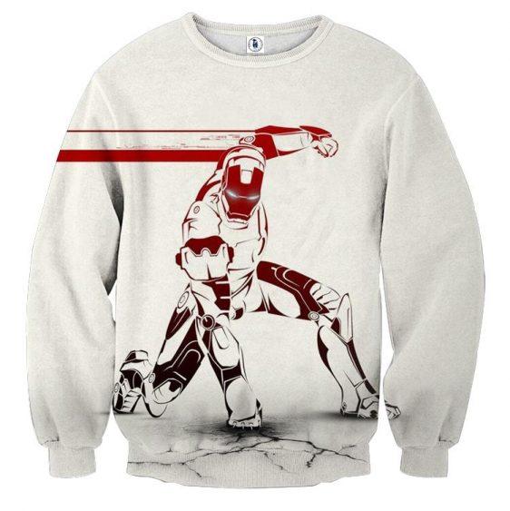 Marvel Comics Forceful Iron Man White Design Sweatshirt