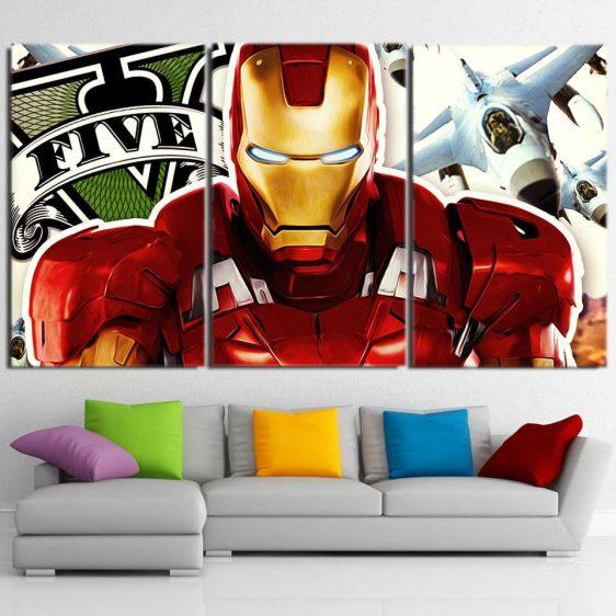 Marvel Comics Iron Man Aggressive Style 3pcs Canvas Print