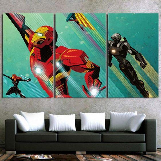 Marvel Comics Iron Man In Rush Attack 3pcs Canvas Print
