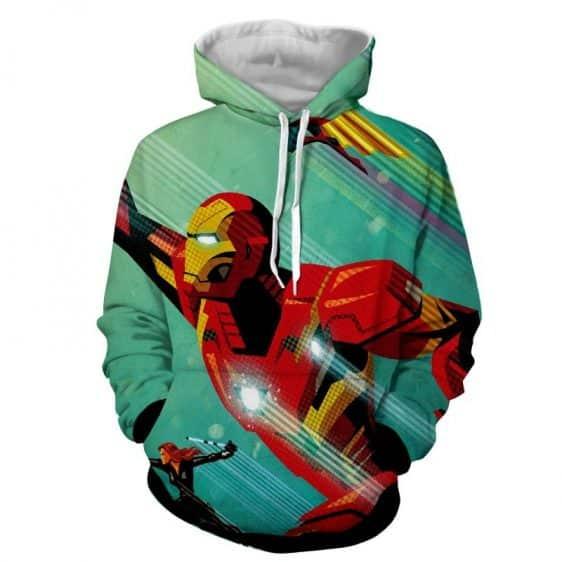 Marvel Comics Iron Man In Rush Attack Full Print Hoodie