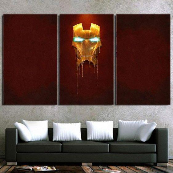 Marvel Comics Iron Man Mask Melting 3pcs Canvas Print