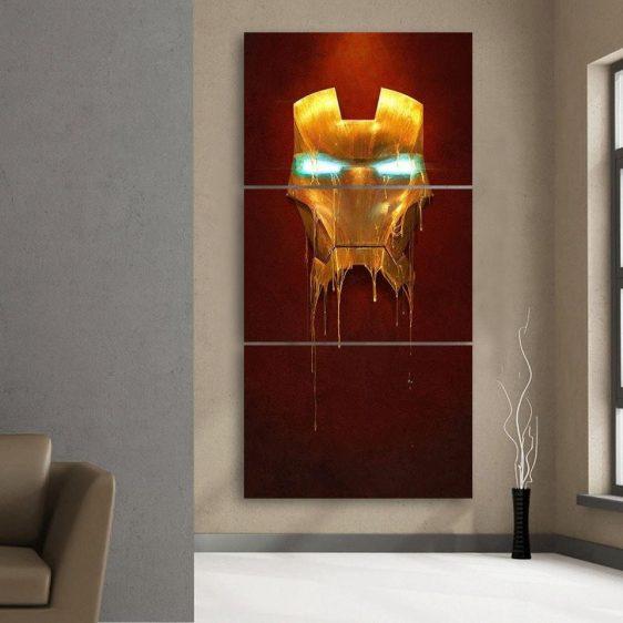 Marvel Comics Iron Man Mask Melting 3pcs Portrait Canvas