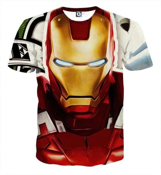Marvel Comics Iron Man Portrait Design Full Print T-shirt