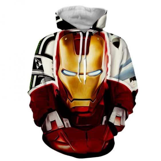 Marvel Comics Iron Man Portrait Style Full Print Hoodie