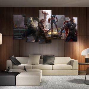 Marvel Comics The Avengers Digital Fan Art 5pcs Canvas Print