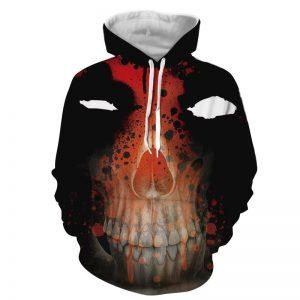 Marvel Deadpool Mask With Wade Skeleton Face Figure Hoodie