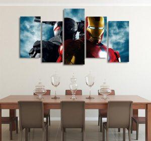 Marvel Iron Man And War Machine 5pcs Wall Art Canvas Print