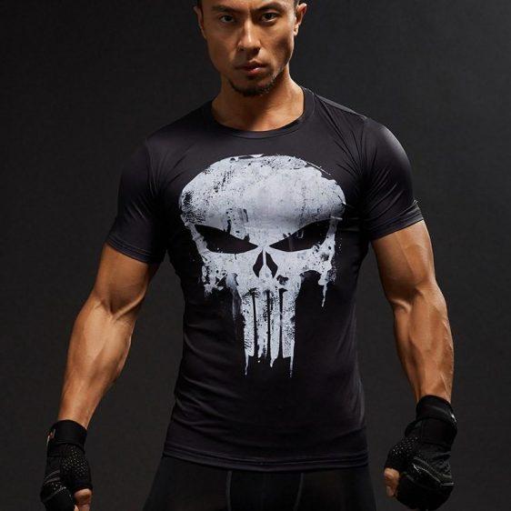 Marvel Punisher Skull Logo Printed Compression Short Sleeves Slim Fit T-shirt