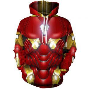 Marvel Tony Stark Iron Man Armor Mark L Red Costume Hoodie