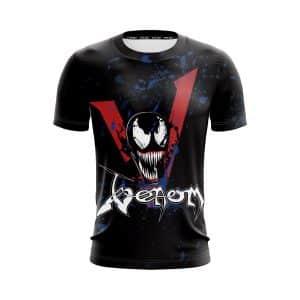 Marvel Venom Symbiote Awesome V Logo Design Black T-Shirt