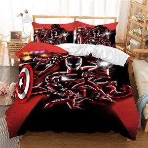 Marvel's Avengers Endgame Dope Red Silhouette Bedding Set