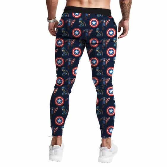 Marvel's Captain America Pattern Navy Blue Jogger Pants