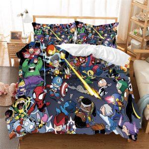 Marvel's Cute Baby Chibi Avengers Superheroes Bedding Set