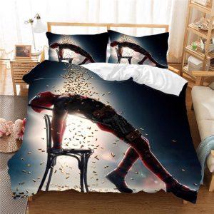Marvel's Deadpool Enjoying Raining Bullets Bedding Set