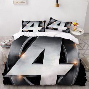Marvel's Fantastic 4 Superhero Team Silver Logo Bedding Set