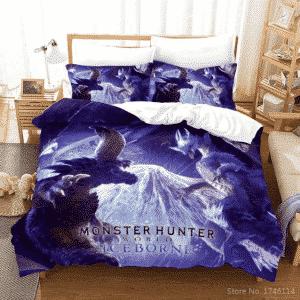 Monster Hunter Iceborne Monsters Fighting Cool Bedding Set
