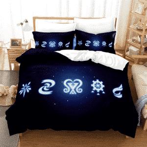 Monster Hunter World Neon Light Symbols Black Bedding Set