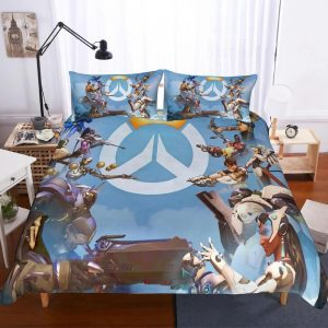 Overwatch Main Heroes Fighting Awesome Sky Blue Bedding Set