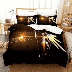 Overwatch Mercy Heroes Never Die Dope Black Bedding Set