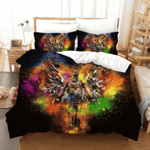 PUBG Player Around Colorful Weapons Dope Black Bedding Set