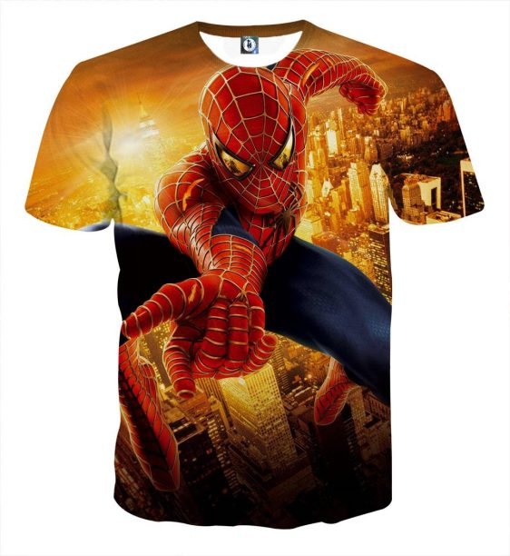 Quick Spider-Man In The City Design Full Print T-Shirt