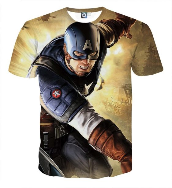 Real Brave Captain America On Fight Scene Yellow T-shirt