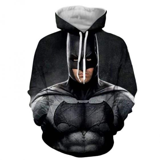 Realistic Batman Portrait In Cool Full Print Black Hoodie