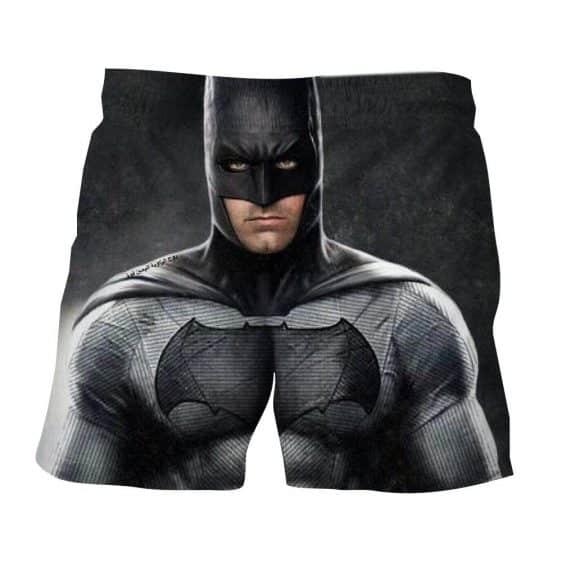 Realistic Batman Portrait In Cool Full Print Black Shorts